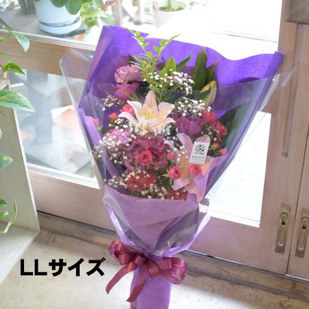 ワンサイド花束 【ピンク系】